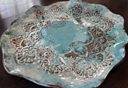 Wall Art Ceramics Originals - SOLD Turqouise Blue Lace Plate Large by Amanda  Sanford