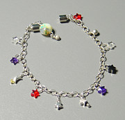 Sterling Silver Bracelet Art - SOLD Twinkle Star CZ and Sterling Silver Charm Bracelet by Robin Copper