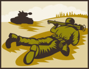 Military Artwork Prints - Soldier Aiming Bazooka Print by Aloysius Patrimonio