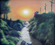 Cross Art Paintings - Soldier at the Cross by Larry Cole