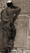 Hasidic Posters - Soldier Praying at the Western Wall - Black and White Poster by Russell Pheasey
