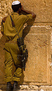 Hasidic Posters - Soldier Praying at the Western Wall - Colour Poster by Russell Pheasey