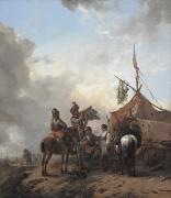 Flirtation Framed Prints - Soldiers carousing with a serving woman outside a tent Framed Print by Philips Wouwerman