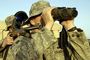 Field Glasses Prints - Soldiers Demonstrate A Buddy Sniper Print by Stocktrek Images