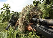 Blending Prints - Soldiers Dressed In Ghillie Suits Print by Stocktrek Images