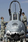 Airfield Prints - Soldiers Learn About The A-10 Print by Stocktrek Images