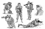 Troops Drawings Prints - Soldiers Print by Murphy Elliott