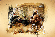 Ground Mixed Media Prints - Soldiers on the Wall Print by Jeff Steed