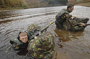 Soldiers Participate In A River Print by Andrew Chittock