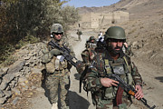 Foot Patrol Photos - Soldiers Patrol The Depak Valley by Stocktrek Images