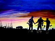 Iraq Paintings - Soldiers Pray by Randall Easterling