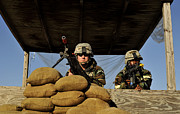 Ledge Photo Posters - Soldiers Provide Security Poster by Stocktrek Images