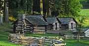 Log Cabins Posters - Soldiers Quarters at Valley Forge Poster by Cindy Manero