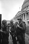 Discrimination Posters - Soldiers Stand Guard Near Us Capitol Poster by Everett