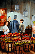Farm Stand Painting Prints - Solebury Orchards Print by Cindy Roesinger