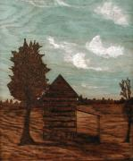 Barns Pyrography Metal Prints - Solemn Tobacco Barn Metal Print by Phillip H George