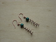 Malachite Jewelry - Solid Copper and Malachite Handmade Corkscrew Earrings by Naomi Mountainspring