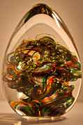 Green Glass Art - Solid Glass Sculpture E1P by David Patterson