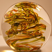 Amber Glass Art - Solid Glass Sculpture R11 by David Patterson