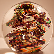 Round Glass Art - Solid Glass Sculpture R9 by David Patterson
