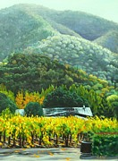 Winery Paintings - Solis Winery in the Fall by Lorna Saiki