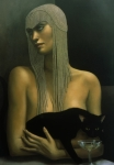 Black Cat Art - Solitare by Jane Whiting Chrzanoska