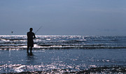 Beach Photo Posters - Solitary Angler Poster by Skip Willits