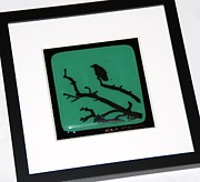 Crow Glass Art - Solitary Crow by Judy Macauley