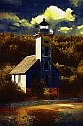 Lighthouse Digital Art Originals - Solitary Lighthouse by Paul Bartoszek