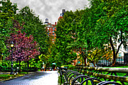 Solitary Umbrella In Riverside Park Print by Randy Aveille