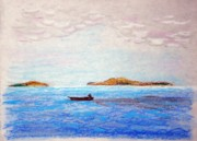 Solitude Drawings - Solitude At Sea by J R Seymour