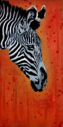 Animal Mixed Media Metal Prints - Solitude in Stripes Metal Print by Iosua Tai Taeoalii
