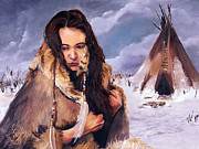 Native American Paintings - Solitude by J W Baker