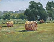 Haybales Painting Prints - Solitude Print by Judy Crowe