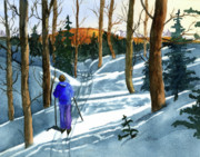 Cross-country Skiing Paintings - Solitude by Vickey Swenson