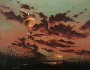 Hot Air Balloon Painting Posters - Solo Flight Poster by Tom Shropshire