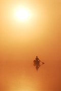 Sunset On The Lake Prints - Solo Paddler On Calm Lake In Golden Sunshine Print by Peter Bowers