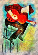 Guitar Player Mixed Media Prints - Solo Print by Shabbir Degani