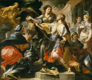 Crowds Paintings - Solomon Worshiping the Pagan Gods by Domenico Antonio Vaccaro