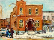 Montreal Food Stores Paintings - Solomons Temple Montreal Bagg Street Shul by Carole Spandau