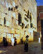Jerusalem Painting Posters - Solomons Wall  Jerusalem Poster by Pg Reproductions