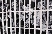 Civil Paintings - Some of the 210 demonstrators jailed wave from their cell 1964 by Lauren Luna