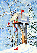 Xmas Painting Originals - Somebody Was Snooping by Hanne Lore Koehler