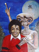 Michael Jackson Portrait Painting Originals - Someone In The Dark by Jocelyne Beatrice Ruchonnet
