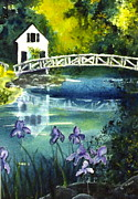 Somesville Maine Prints - Somesville Bridge Reflections Print by Gloria Avner