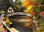 Somesville Maine Prints - Somesville Maine Footbridge Print by Eileen Patten Oliver