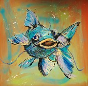 Catfish Mixed Media Prints - Something in the Water Print by Dan MacCosbe