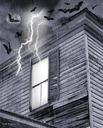 Haunted House Digital Art Metal Prints - Something Wicked Metal Print by Brian Wallace