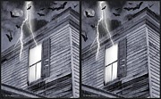 Haunted House Digital Art Framed Prints - Something Wicked - Cross your eyes and focus on the middle image Framed Print by Brian Wallace