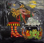 Halloween Scene Paintings - Somethings Brewing by Julie Brugh Riffey